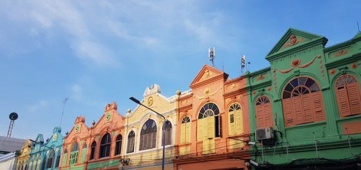Facades of old Hat Yai houses