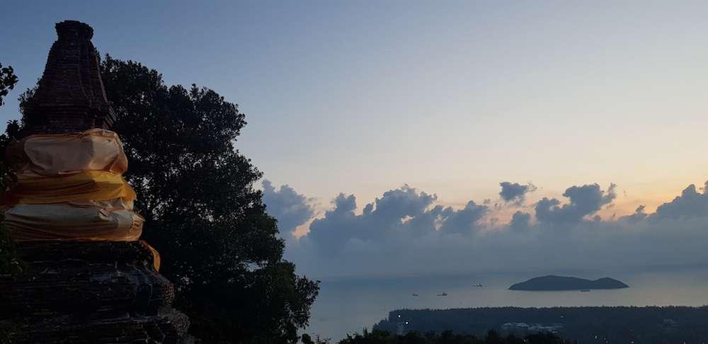 Sunrise from Khao Daeng overlooking an island, South Thailand