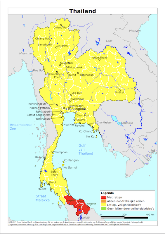 Map of Thailand with the Dutch Travel advice