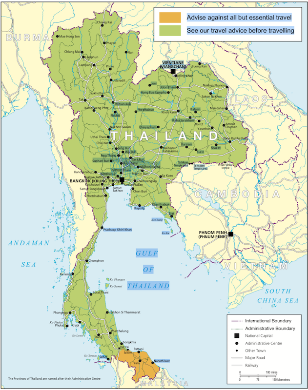 Map of Thailand with the travel advice of the UK government
