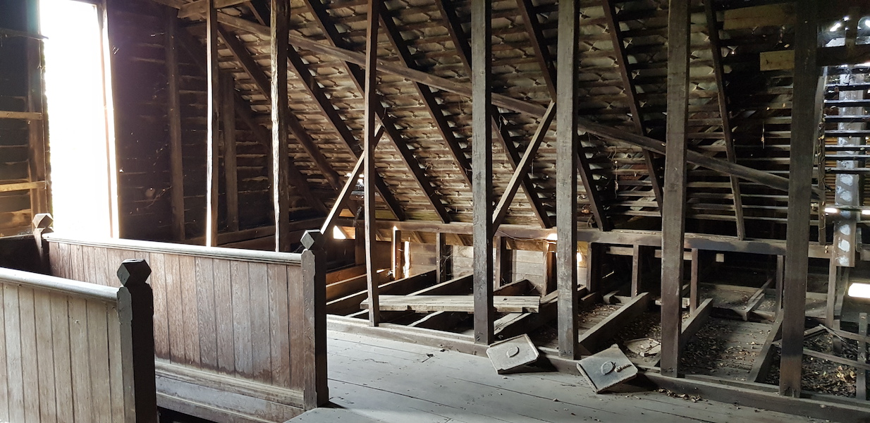 roof of attic of old wooden house